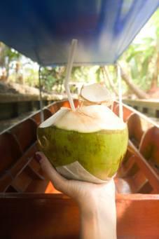 Fresh Coconut in the Floating Market. Credit: Esha Murty